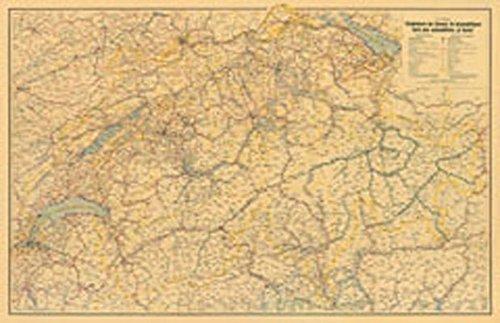 Nostalgie-Karte Schweiz Poster 1: 350000: Format: 100x64,5cm (Hallwag Strassenkarten) -