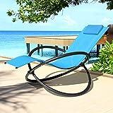 Swing & Harmonie Relaxliege Gartenliege Faltbare Sonnenliege Schaukelliege Liegestuhl Schaukelstuhl Klappbar Schaukelsessel inkl. Nackenkissen (Türkis)