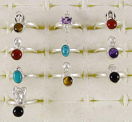 Banithani Lot de 10 paires de Pcs argenté femmes anneau bande belle mode bijoux Multicolore (Conception # 5)