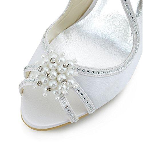 Elegantpark EP11058 Bout Ouvert Satin Perle Strass Aiguille Talon Pumps Femme Sandales Chaussures de Mariage Blanc