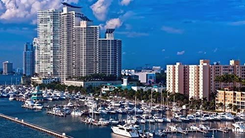 ClassicJP Puzzlespiel-Miami-Hafen-Boots-Hotel-Wasser-Hintergrund-Landschaft Mit 1000 Stücken Für Erwachsene Kinder