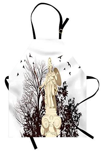 Printawe Vintage Schürze von Griechische Athena Statue mit Baum und Vogel Silhouetten Skulptur Architektur Unisex Küche Latzschürze mit verstellbarem Hals zum Kochen Backen Garten Dunkelbraun beige