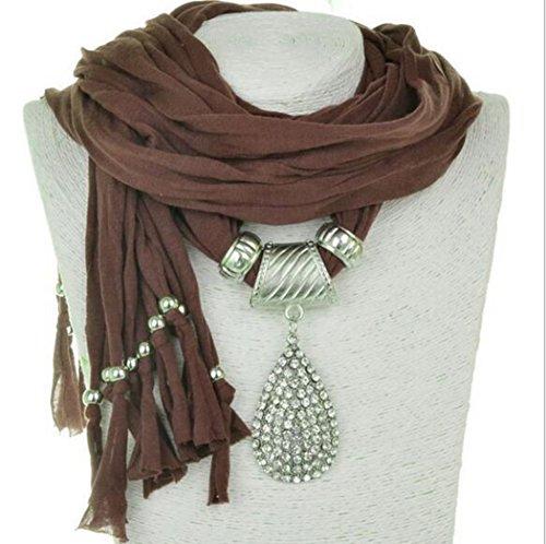 JWBBU® Long Doux Tissu Bohême Style Châle Echarpe Charm Collier avec Pendentif en Forme Goutte Café