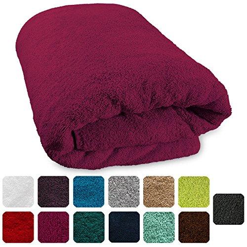 Lanudo® XXL Luxus Sauna-Handtuch 600g/m² Pure Line 80x200 cm mit Bordüre.100% feinste Frottier Baumwolle in höchster Qualität, Saunatuch, Strandtuch, Farbe: Pink