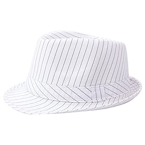 Costumes Hommes Blanc Gangster - YQ-Chapeau Fedora homme Classic Trilby rayures bord