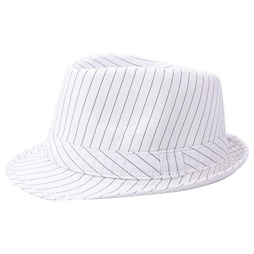YQ Unisex Nadelstreifen Trilby Fedora Hut kurze Krempe Erwachsene Größe weiß