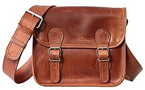 Bolso bandolera de piel PAUL MARIUS LA SACOCHE (S) color marrón claro, tamaño pequeño, estilo vintage & retro