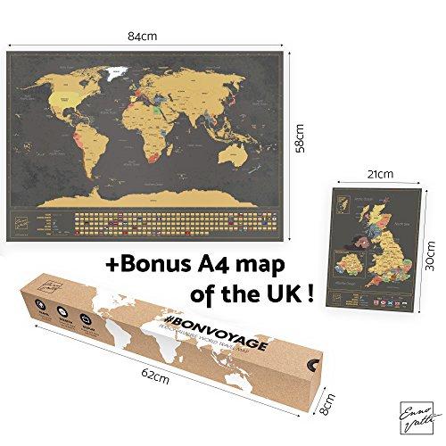 = Mappa del mondo con bandiere XXL da grattare + BONUS A4 mappa del Regno Unito! – poster personalizzato per tracciare i viaggi – Ricorda e condividi le tue avventure | Disegno unico di ENNO VATTI (Nero | 84 x 58 cm) recensioni dei consumatori