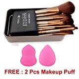 Urban Decay Cosmetic Makeup Brush Set - 12 Piece Set With Storage Box 2 Pcs With Makeup Puff Sponge