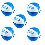 1a-becker 5X Wasserball Strandball Beachball Spiel Ball aufblasbar blau weiß 25cm groß