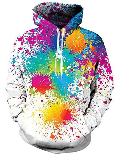 Unisex 3D Gedrucktes Kapuzen Sweatshirt mit Taschen Bunte Malerei Kordelzug Pullover Hoodie Jugend Sport Gym Kleidung Top XXL