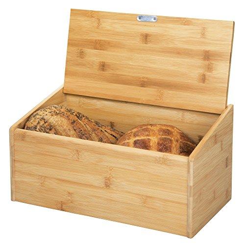 mDesign Brotkasten aus Holz - Brotbox mit Deckel zum luftdichten Verschließen - für eine umweltfreundliche und stilvolle Brotaufbewahrung - naturfarben
