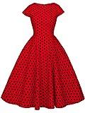 FAIRY COUPLE 1950S Retro Rockabilly Tupfen Kappen Hülsen Abschlussball Kleid DRT019(XL,Rote Kleine Schwarze Punkte)
