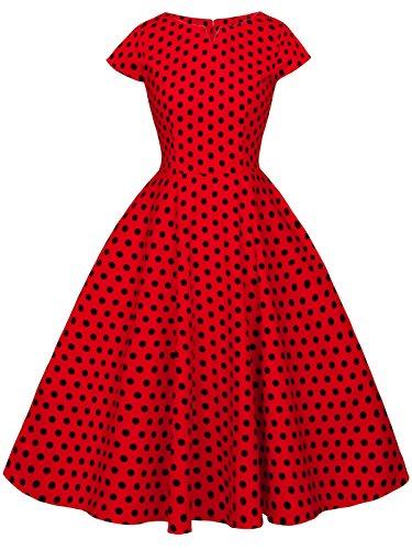 FAIRY COUPLE 1950S Retro Rockabilly Tupfen Kappen Hülsen Abschlussball Kleid DRT019(L,Rote kleine Schwarze Punkte)
