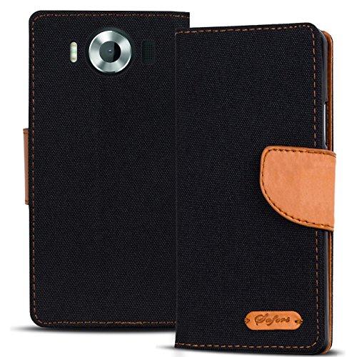 Verco Lumia 950 Hülle, Schutzhülle für Microsoft Lumia 950 Tasche Denim Textil Book Case Flip Case - Klapphülle Schwarz