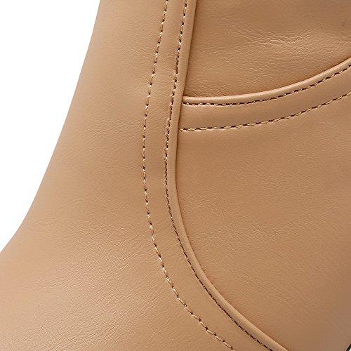AllhqFashion Hoch-Spitze Ziehen Auf Weiches Material Hoher Absatz Rund Zehe Stiefel Aprikosen Farbe