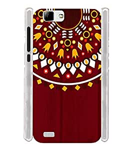 Ethinic Red Tribal Indian Pattern Soft Silicon Rubberized Back Case Cover for Vivo V1