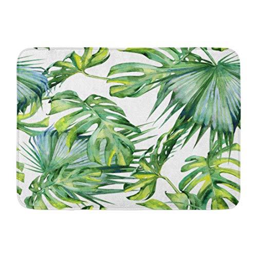 Palm Blätter Teppich (shyly Fußmatten Badteppiche Outdoor/Indoor-Fußmatte Green Leaf Aquarell oder Tropische Blätter dichten Dschungel Hand Tropic Sommerzeit Bunte Palm Badezimmer Dekor Teppich 23,6 (L) x 15,7 (W) Zoll)