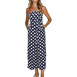 Honghu Correa de Espagueti Femenina Off Hombro Polka Dots Pantalones Largos Mamelucos Mono Playsuits Azul Marino M