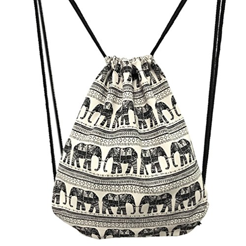 Imagen de samgoo hipster lona  gym saco turn bolsa bolsa bolsa de deporte, estilo étnico elefante geométrico turn bolsa bolsa  hipster para viajes/deportes blanco/negro  alternativa