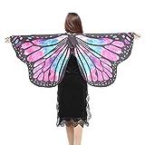 style_dress Damen Frauen Butterfly Wings Schmetterlingsflügel Schals Nymph Pixie Ponch Für Bauchtanz Tanz Schleier Flügel Zubehör Tanzen Kostüm Bauchtanz Fasching Karneval (Rosa)