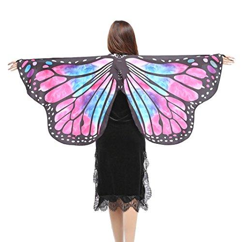 (style_dress Damen Frauen Butterfly Wings Schmetterlingsflügel Schals Nymph Pixie Ponch Für Bauchtanz Tanz Schleier Flügel Zubehör Tanzen Kostüm Bauchtanz Fasching Karneval (Rosa))