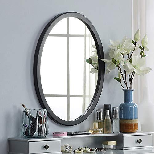 XZRR Espejo De Pared Negro Ovalado,Espejos De Baño con Marco De Madera,Espejo Maquillaje De Dormitorio,Negro/Blanco,3...
