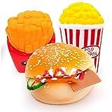 MMTX Giocattoli per Squishies a Crescita lenta, Soft Cut Squeeze Toys Crema Dolci Kawaii Profumata Jumbo Regalo per decompressione Antistress perragazze Ragazzi (Hamburger, Popcorn, Patatine Fritte)