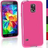 igadgitz Festes Pink Rosa Glänzend TPU Gel Tasche für Samsung Galaxy S5 SV MINI SM-G800F + Displayschutzfolie
