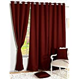 Story@Home Room Darkening Blackout Plain Faux Silk Premium Solid 2 Piece Door Curtain, 7ft, Maroon