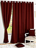 Story@Home Room Darkening Blackout Plain Faux Silk Premium Solid 2 Piece Door Curtain