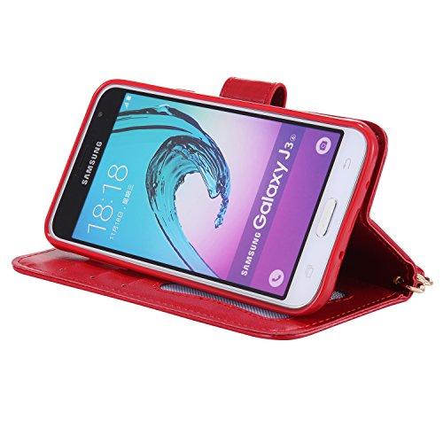 Coque Galaxy J3 2016, ISAKEN Coque pour Samsung Galaxy J3 2015/2016 - Peinture Style Lumineux Luminous Etui PU Cuir Flip Magnétique Portefeuille Etui Housse de Protection Coque étui Case Cover avec St Rouge