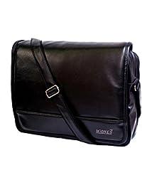 "Stylish 15"" Black Colour Faux Leather Laptop Messenger Office Bag By-Widnes"