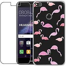 Huawei P8Lite funda de 2017con protector de pantalla de cristal templado, blossom01Ultra Thin Suave TPU carcasa de silicona con carcasa de Gel para Huawei P8Lite 2017 multicolor rosa (Flamingo) Huawei P8 Lite 2017