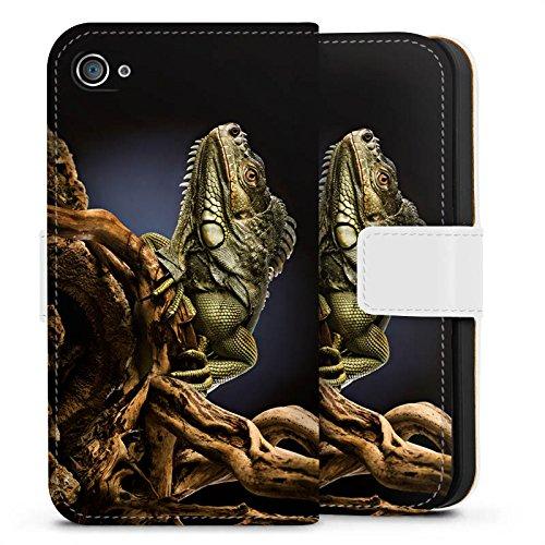 Apple iPhone X Silikon Hülle Case Schutzhülle Echse Reptil Tier Sideflip Tasche weiß