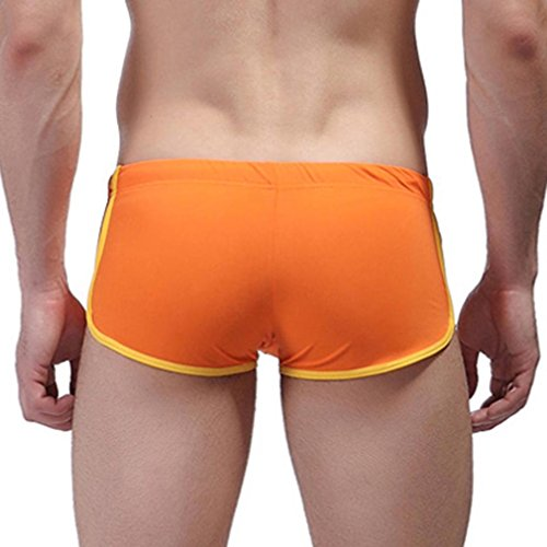 Honghu Costume da Bagno Uomo Boxer Regolabile Traspirante Pantaloncini Arancia