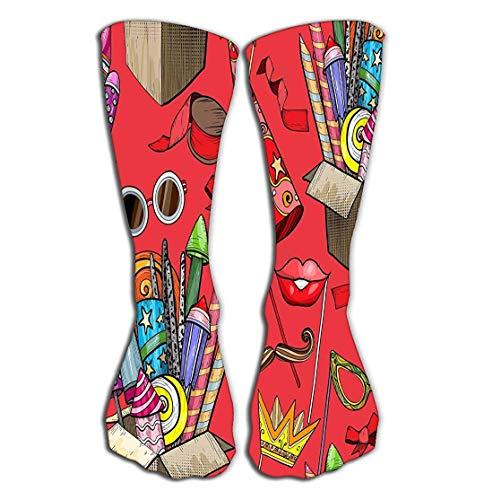 Ouyjian outdoor sports men women high socks stocking colorful large firework cardboard box party accessories colorful large firework tile length 19.7