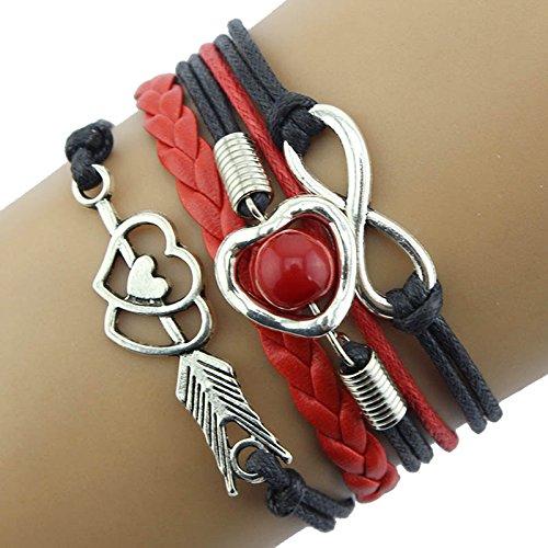 WooCo Unendlich Liebe Herz Perle Freundschaft Antikes Leder Charm Armband Sale Cupid's Arrow Liebesperle Multicolor Lederband Multilayer ()