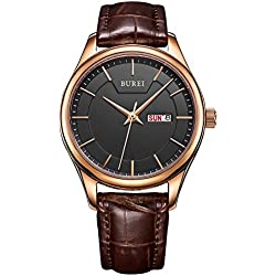 Burei SL-13001-P05ER Luminous Day and Date Women's Automatic Watch - Brown