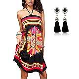 QBQ Frauen Strapless Ethnische Boho Bandeau Beach Sun Kleid Schlank Floral Badeanzug Badeanzug Vertuschen (Stil-01-Schwarz)