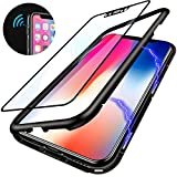 Elewelt iPhone X Hülle,Magnetische Adsorption Handyhülle mit Eingebauter Magnet Funktion, Ultra Dünn Tempered Glass Back Cover Case für Apple iPhone X (Transparente Rückseite,Schwarze Bumper)