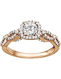 Silvernshine Ladies Engagement & Wedding Ring White Diamond CZ In 14k Rose Gold FN