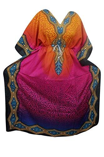 Indiatrendzs Women's Long Printed Boho Pink Kaftan Dress With Dori At Waist  available at amazon for Rs.386