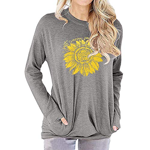 en reizende Sonnenblume-Druck-Lange Hülsen-Pullover-beiläufige runde Kragen-dünne Oberseiten-Bluse mit Tasche um ()