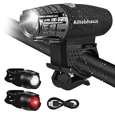 Ailiebhaus LED Fahrradbeleuchtung Set, USB Fahrradlichter Fahrradlicht Set, Wiederaufladbar Wasserdicht Fahrradlampen Set, Einschließen 1x Frontlicht, 2 x Rücklichter, 1x USB Kabel