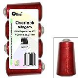 4pezzi bobine Overlock–Filo da cucito, colore: rosso rubino, A. 2743m, Ne 40/2, 100% poliestere, filo, filo da cucire, 2936