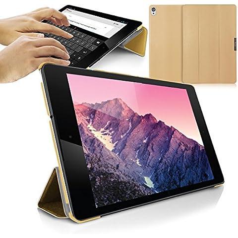 Orzly® - SlimRim for NEXUS 9 - FUNDA con SOPORTE INTEGRADO en ORO / GOLD COLOR - ULTRA SLIM Smart Stand Case / CAJA / CARCASA con SENSORES AUTO STANDBY para funcionalidad de SUEÑO / DESPERTAR e Tapa Magnético - Diseñado exclusivamente para Google / HTC NEXUS 9 Tablet / Tabletta (para encajar a 2014 Versión con Pantalla de 9 pulgadas - Original Wi-Fi Modelo & 3G LTE Version)