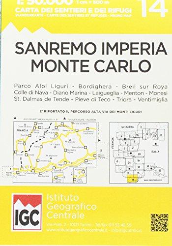 San Remo Imp1:50 000 Wanderkarte 14: Sanremo - Imperia - Monte Carlo
