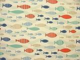 Küste Nautisch Meer Schwarm Fisch blau Baumwolle Stoff