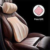 Gluckluz Lumbar Support Cushion Neck Pillow Kit Coccyx Orthopedic Memory Foam Back Cervical Pillowcase for Office Chair Car Seat Driving Home Indoor Outdoor